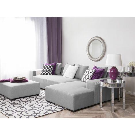 Left Hand Fabric Corner Sofa with Ottoman Grey LUNGO