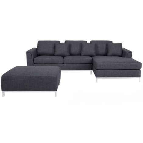Left Hand Fabric Corner Sofa with Ottoman Grey OSLO