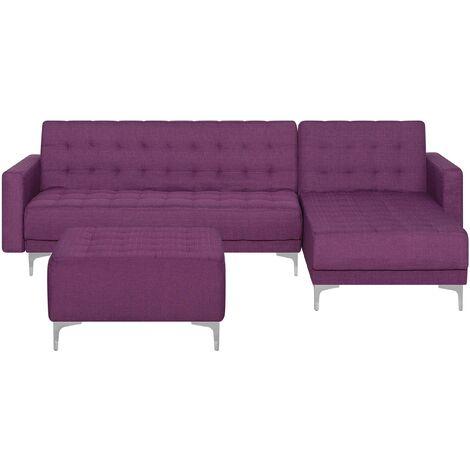 Left Hand Fabric Corner Sofa with Ottoman Purple ABERDEEN