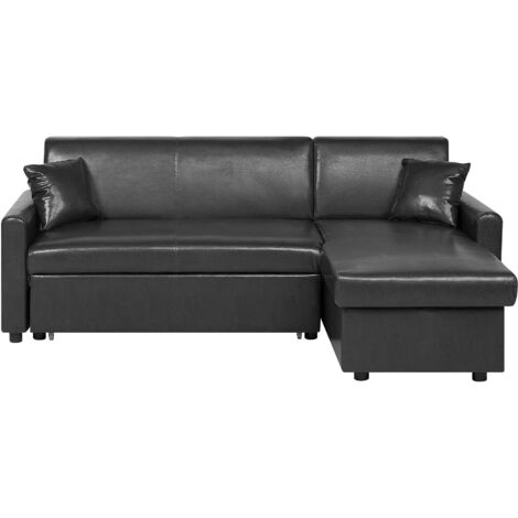 Left Hand Faux Leather Corner Sofa Bed with Storage Black OGNA