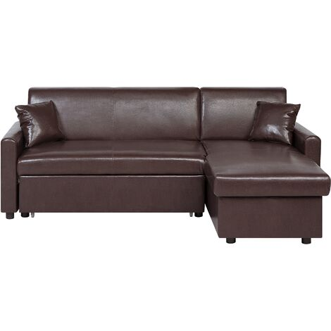 Left Hand Faux Leather Corner Sofa Bed with Storage Dark Brown OGNA