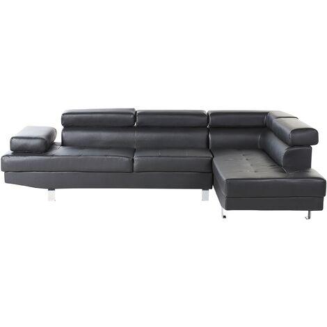 Left Hand Faux Leather Corner Sofa Black NORREA