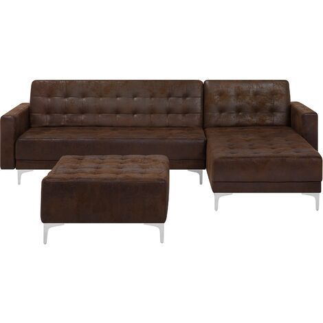 Left Hand Faux Leather Corner Sofa with Ottoman Brown ABERDEEN