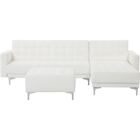 Left Hand Faux Leather Corner Sofa with Ottoman White ABERDEEN
