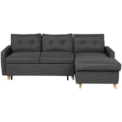 Left Hand Upholstered Tufted Corner Sofa Bed with Storage Dark Grey Flakk
