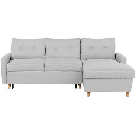 Left Hand Upholstered Tufted Corner Sofa Bed with Storage Light Grey Flakk
