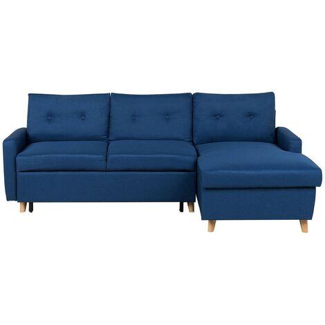 Left Hand Upholstered Tufted Corner Sofa Bed with Storage Navy Blue Flakk