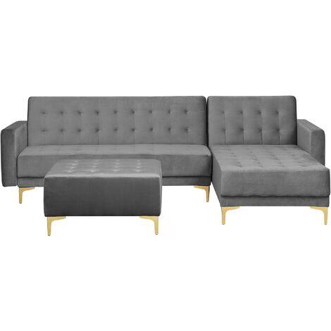 Left Hand Velvet Corner Modular L Shaped Sofa Bed Ottoman Grey Aberdeen