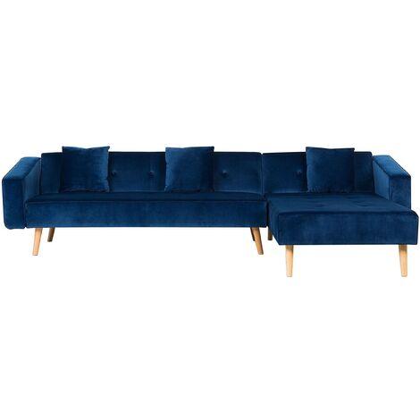 Left Hand Velvet Corner Sofa Bed Blue VADSO