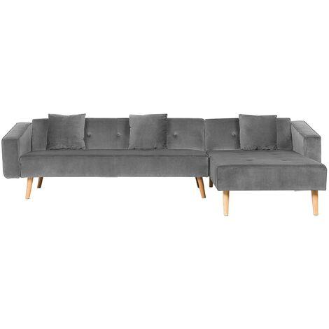 Left Hand Velvet Corner Sofa Bed Grey VADSO