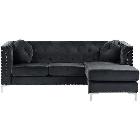 Left Hand Velvet Corner Sofa Black FLEN