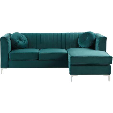 Left Hand Velvet Corner Sofa Green Additional Pillows Glamour Timra
