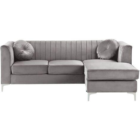 Left Hand Velvet Corner Sofa Grey TIMRA