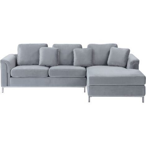 Left Hand Velvet Corner Sofa Light Grey OSLO