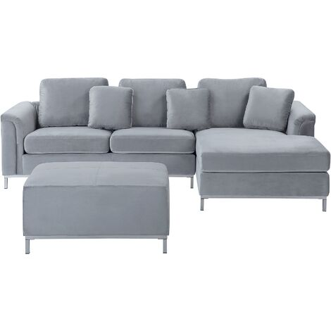 Left Hand Velvet Corner Sofa with Ottoman Light Grey OSLO