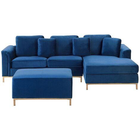 Left Hand Velvet Corner Sofa with Ottoman Navy Blue OSLO