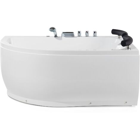 Left Hand Whirlpool Corner Bath with LED White PARADISO