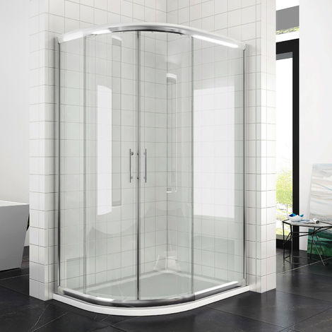 Left Quadrant Shower Enclosure 1200 x 800 mm Sliding Glass Cubicle Door with Tray + Waste