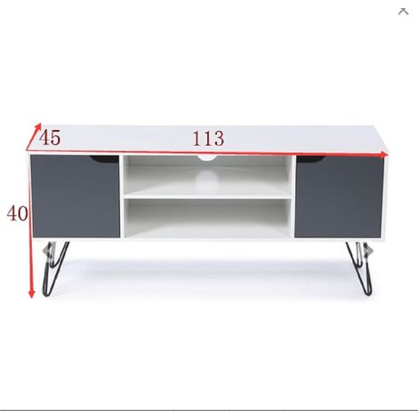 Leg TV Stand Iron 113 * 45 * 40cm two racks, white and gray