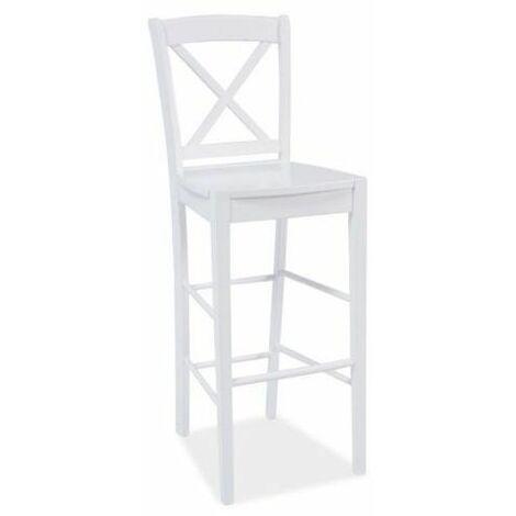LEGATO | Tabouret de bar en bois cuisine/bar | 112x40x37 cm | Chaise de bar | Chaise haute cuisine style classique - Blanc