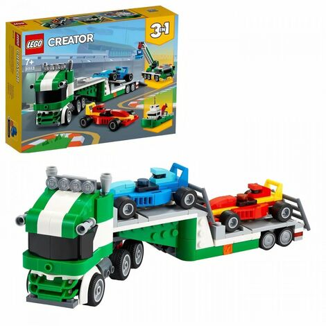 LEGO Creator 3-en-1 31113 Le transporteur de voitures de course, Jeu de construction incluant un camion, sa remorque et une grue