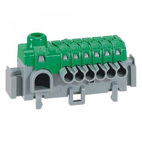 Legrand 005050 - Bornier de répartition IP 2X - connexion auto - 1 borne à cage - L 63mm
