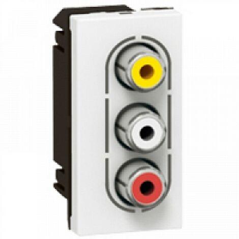 Legrand 078754 - Socket AUDIO video mosaic - 3 RCA female AUDIO video - 1 MOD - white