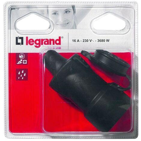 Legrand 93917 fiche femelle 2p + t caoutchouc étanche ip44 avec volet de protection