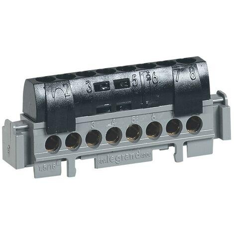 Legrand bornier de phase - 8 bornes pour câble 15 a 16 mm_ - noir
