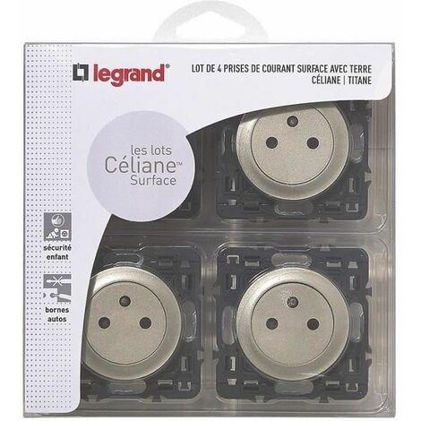 """main image of """"LEGRAND Celiane Lot 4 prises de courant avec terre affleurantes a encastrer composable titane"""""""