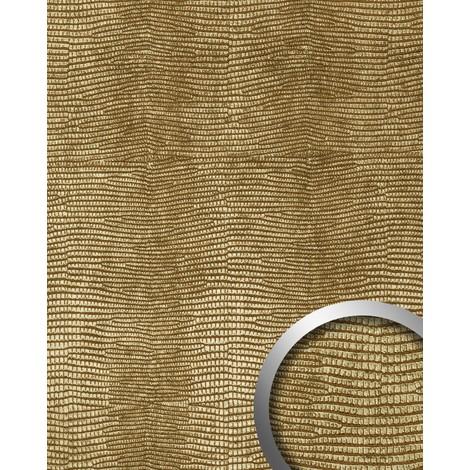 LEGUAN Design revêtement mural auto-adhésif WallFace 13478 Aimantin Simili cuir peau iguane doré 2,60 m2