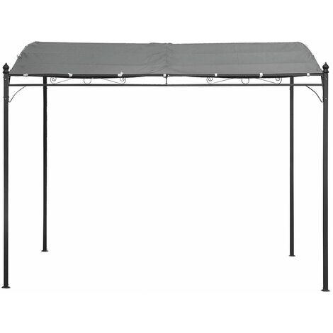 LEGZIRA - Grey Steel Wall Pergola - 3x2,5M - Grey