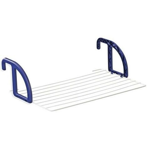 LEIFHEIT 83056 Séchoir a suspendre balcon 7 metres CLASSIC 70 blanc & bleu