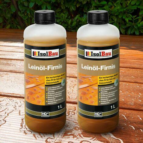 Leinöl-Firnis Natur 2 Liter Leinöl Lackfirnis Holzschutz Harzfrei Holzöl..