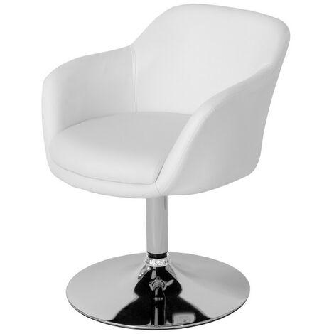Leisure Tub Bucket Chair White Padded Seat Swivel Chrome Frame White