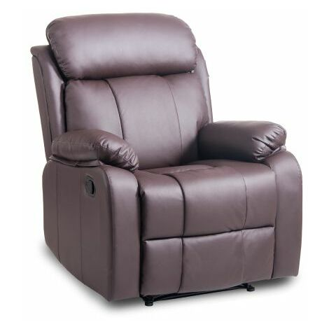 Leisure Zone ® Leather Recliner Chair Tilt Sofa Push Back Armchair Sofa for Home Lounge Gaming Cinema High-Back Chair (Brown)