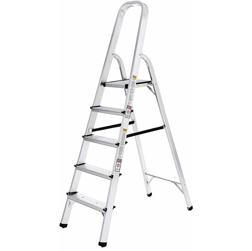 Beliebt Leiter 5 Stufen, Alu Leiter, rutschfeste Stehleiter, Klappleiter JK12