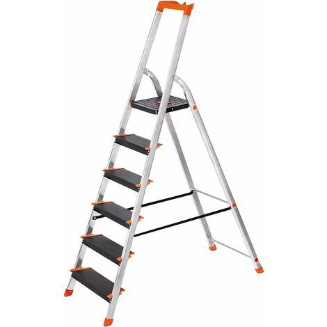 Leiter 6 Stufen, Aluleiter mit 12cm breiten Stufen, Stehleiter mit Werkzeugschale, Klappleiter mit Anti-Rutsch-Füßen, max. statische Belastbarkeit 150KG GLT06BK - Black