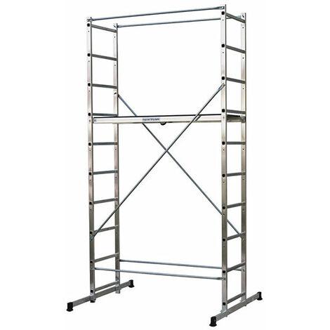 Leitergerüst: 4.00m maxi. Arbeitshöhe; mit Traversen und Stufenausgleich