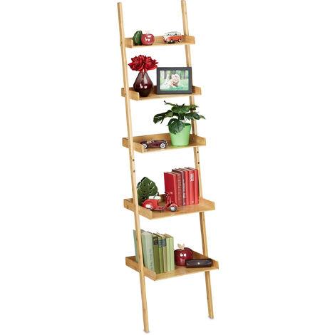Leiterregal Bambus, 5 Etagen, Bad, Küche, Wohnzimmer, Standregal zum Anlehnen, HBT: 190 x 45 x 40 cm, natur