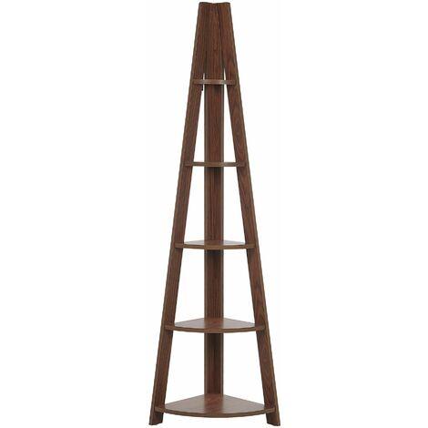 Leiterregal Dunkler Holzfarbton MDF Platte 166 x 51 x 36 cm Modern Hochfunktionell Viel Stauraum Pflegeleicht Wohnzimmer