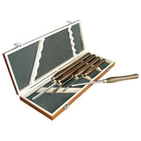 Leman - Coffret bois 5 outils de tournage acier - 870.500.05