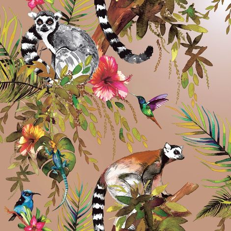 Lemur Wallpaper Rose Gold Tropical Jungle Birds Flowers Floral Trees Animals