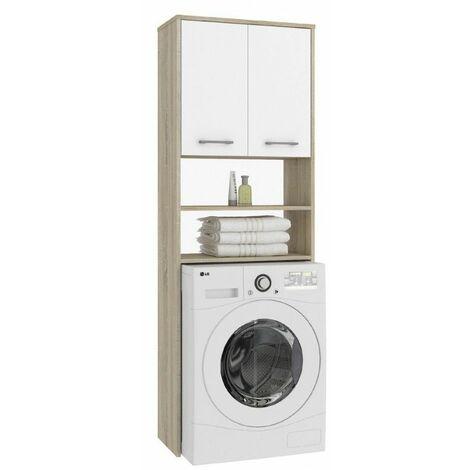 LENA | Meuble pour machine à laver 180x64x30 cm | Espace de rangement buanderie/lave linge/salle de bain avec étagères | Sonoma/Blanc - Sonoma/Blanc