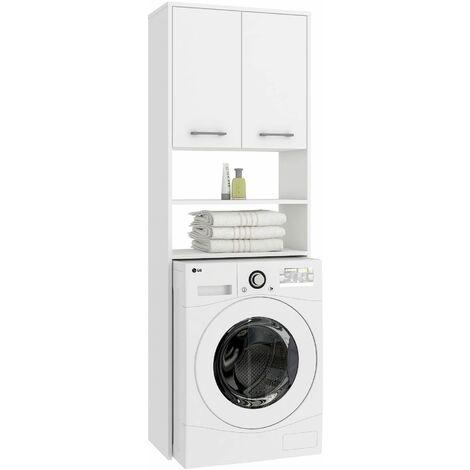 LENA | Meuble pour machine à laver 180x64x30 cm | Espace de rangement buanderie/lave linge/salle de bain avec placard/étagères | Blanc - Blanc