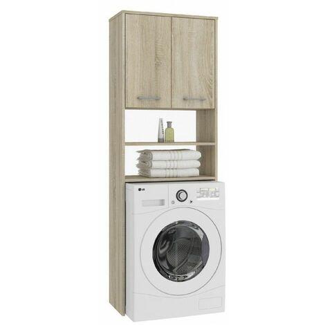 LENA | Meuble pour machine à laver 180x64x30 cm | Espace de rangement buanderie lave linge salle de bain avec placard/étagères | Sonoma - Sonoma