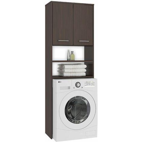 LENA | Meuble pour machine à laver 180x64x30 cm | Espace de rangement buanderie/lave linge/salle de bain avec placard | Wenge - Wenge
