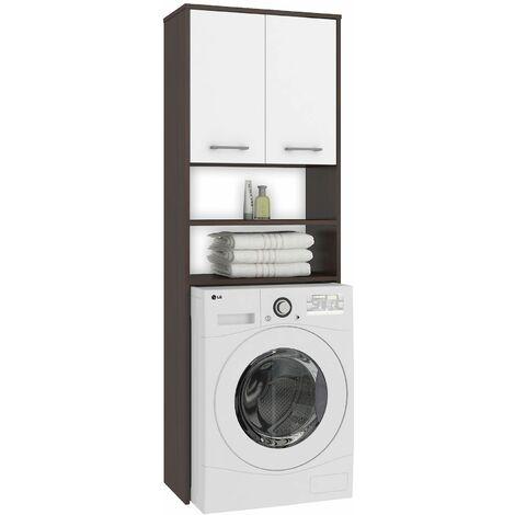 LENA | Meuble pour machine à laver 180x64x30 cm | Espace de rangement buanderie/lave linge/salle de bain avec tablettes | Wenge/Blanc - Wenge/Blanc