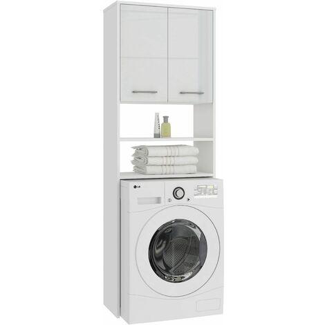 LENA | Meuble pour machine à laver 180x64x30cm | Espace de rangement buanderie/lave linge/salle de bain avec placard/étagères | Blanc laqué - Blanc laqué