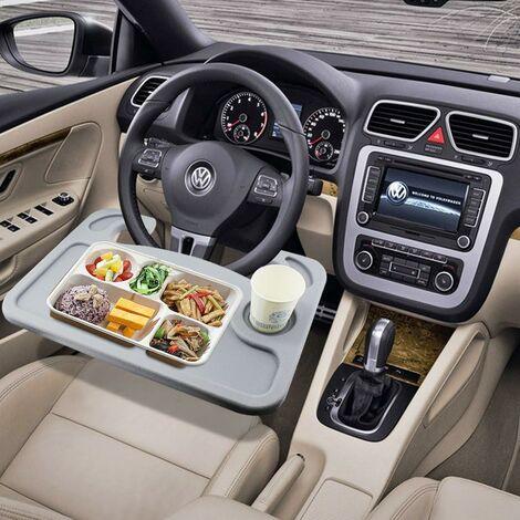 Lenkradtisch, Multifunktionstisch, Auto Tisch Lenkradablage Schreibtisch Laptop Tablett Organizer Esstisch Getränkehalter für Auto Pkw Lkw - Tragbar (grau)